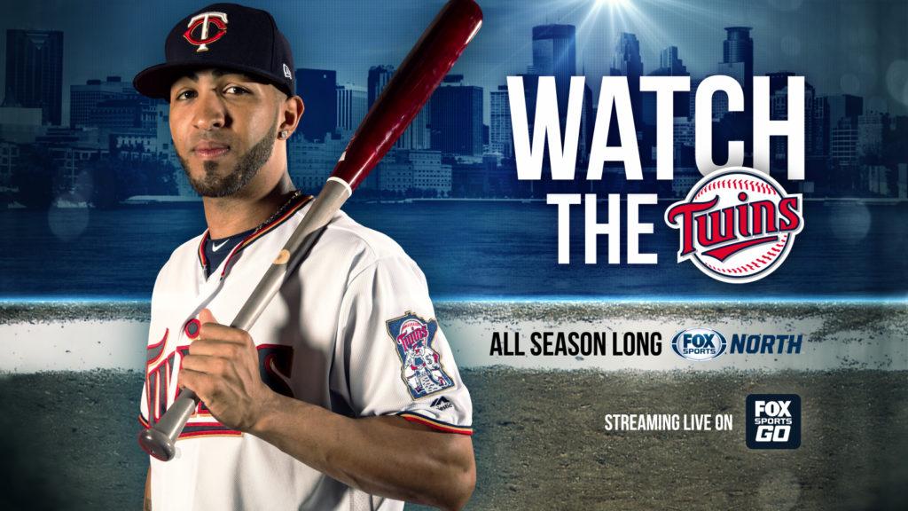 Watch the Twins games on Fox Sports North Through Fox Sports Go. Twins player Rosario holding a baseball bat.